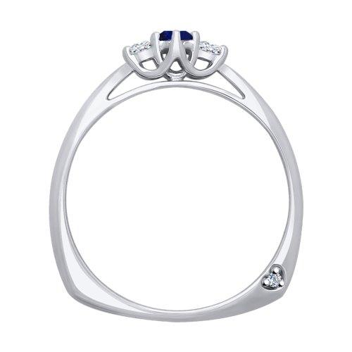 Кольцо из белого золота с бриллиантами и сапфиром (2011085) - фото №2