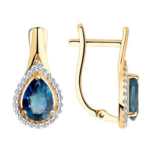 Серьги из золота с синими топазами и фианитами (725914) - фото