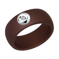 Коричневое кольцо из керамики с белым золотом и бриллиантом