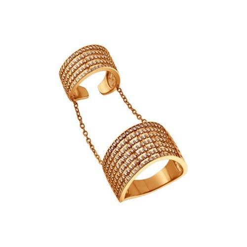 Кольцо на две фаланги SOKOLOV из золочёного серебра с фианитами