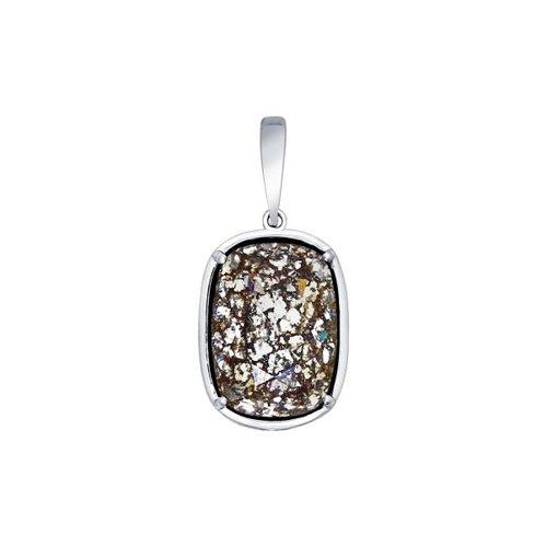 Подвеска из серебра с чёрным кристаллом Swarovski