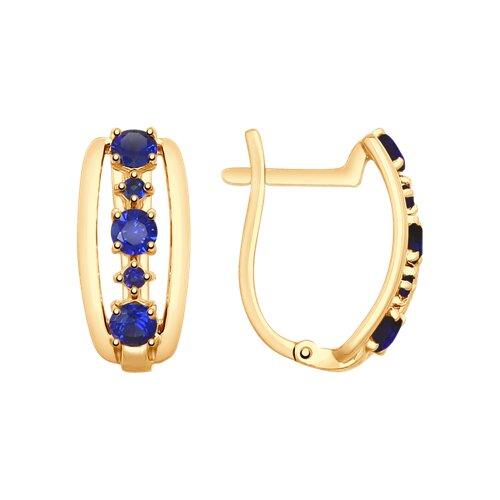 Серьги из золота с синими корундами (725689) - фото