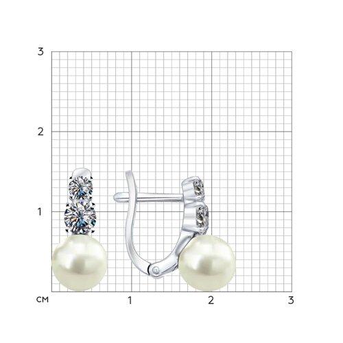 Серьги из серебра с жемчугом и фианитами (94021945) - фото №2