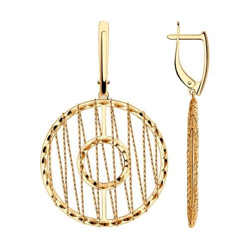 Серьги из золота с алмазной гранью (028708) - фото