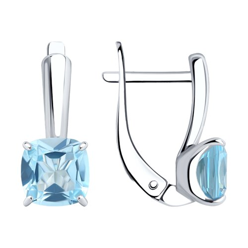 Серьги из серебра с голубыми топазами