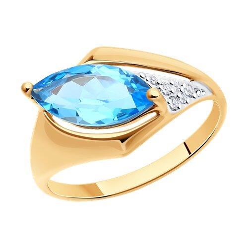 Кольцо из золота с топазом и фианитами (714850) - фото