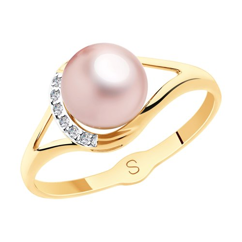 Кольцо из золота с розовым жемчугом и фианитами (791128) - фото