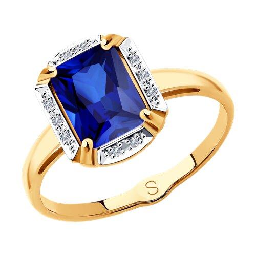 Кольцо из золота с бриллиантами и синим корунд (синт.) (6012153) - фото