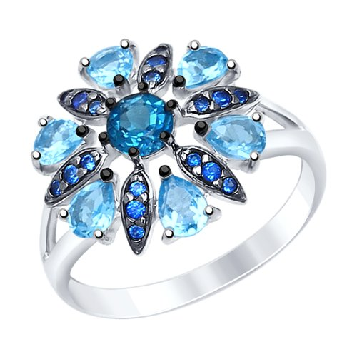 Кольцо из серебра с голубыми и синим топазами и синими фианитами