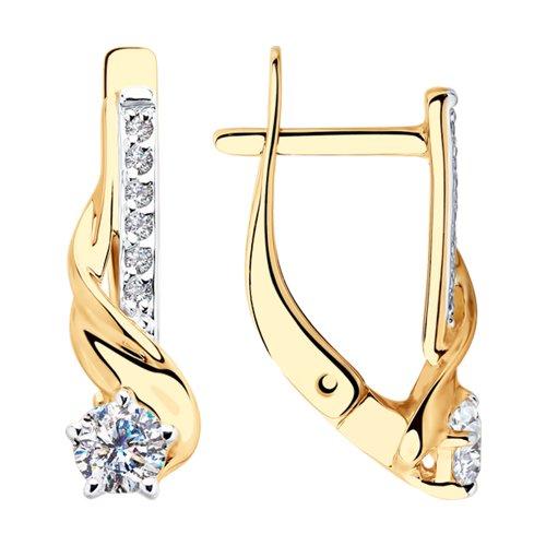 Серьги из золота с фианитами (028182) - фото