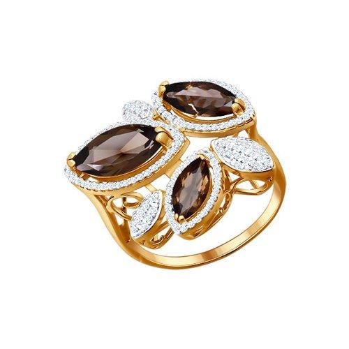 Кольцо из золота с раухтопазами и фианитами