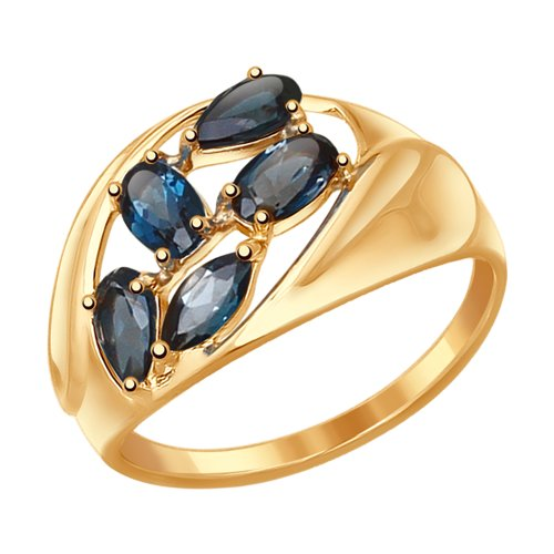Кольцо из золота с синими топазами (37714730) - фото