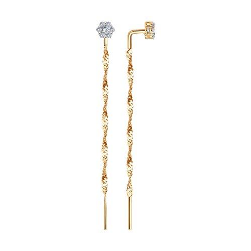 Серьги-цепочки из золота с фианитами