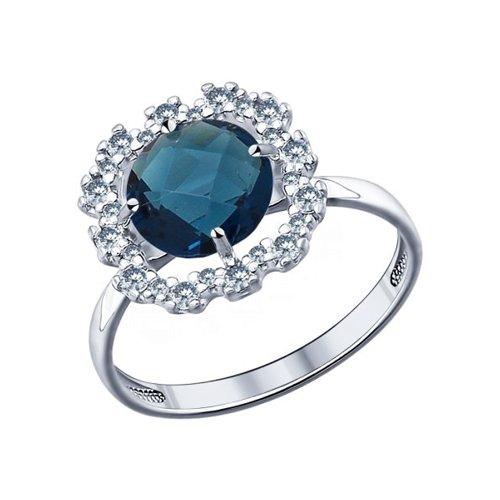 Кольцо SOKOLOV из серебра с синей стеклянной вставкой и фианитами серебряное кольцо с фианитами и муранским стеклом лазурного цвета