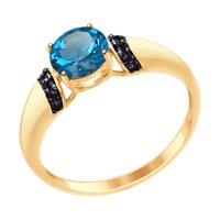 Кольцо из золота с синим топазом и чёрными фианитами