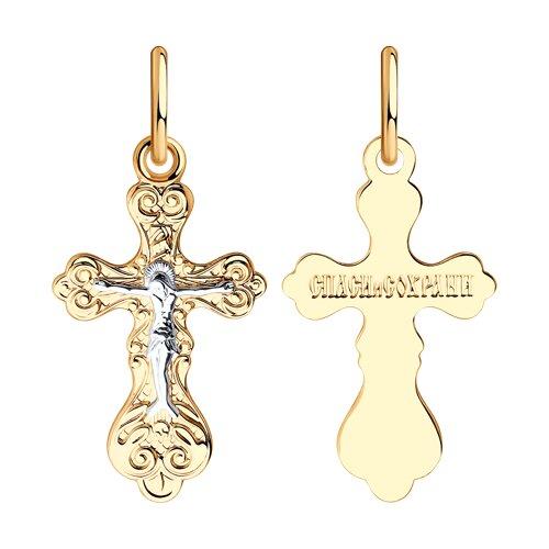 Крест из комбинированного золота (120086) - фото
