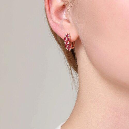 Серьги из золота с бриллиантами и рубинами (4020036) - фото №3