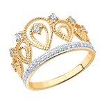 Кольцо-корона из золота с фианитами