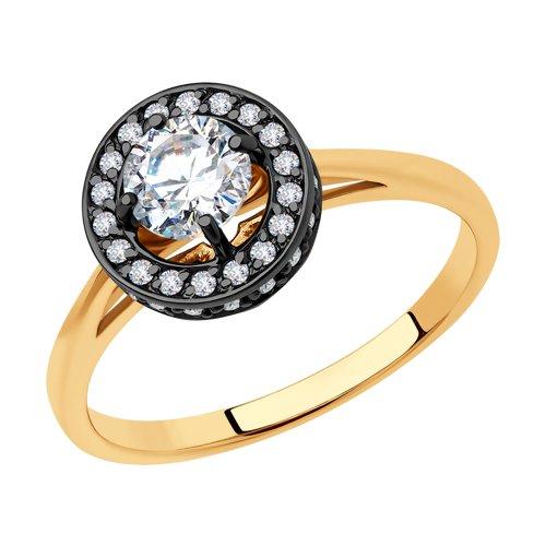 Кольцо из золота с фианитами (018539) - фото