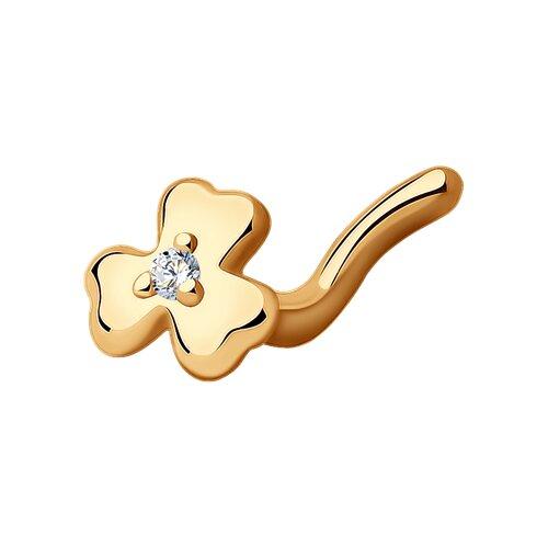 Пирсинг в нос клевер из золота с фианитом