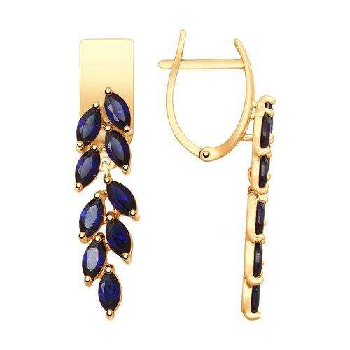 Серьги из золота с синими корундами (синт.) (725567) - фото