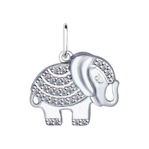 Подвеска «Слон» из серебра  (94031929) - фото