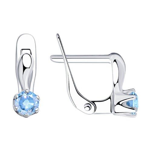 Серьги из серебра с голубыми фианитами (94020450) - фото