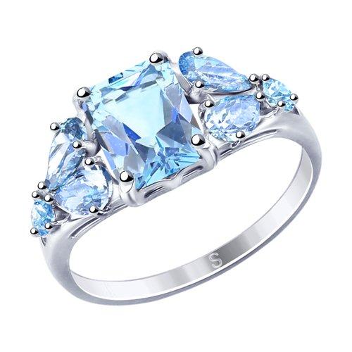 Кольцо из серебра с фианитами (94012760) - фото