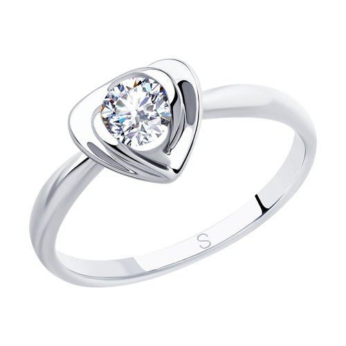 Кольцо из серебра с фианитом (94012884) - фото