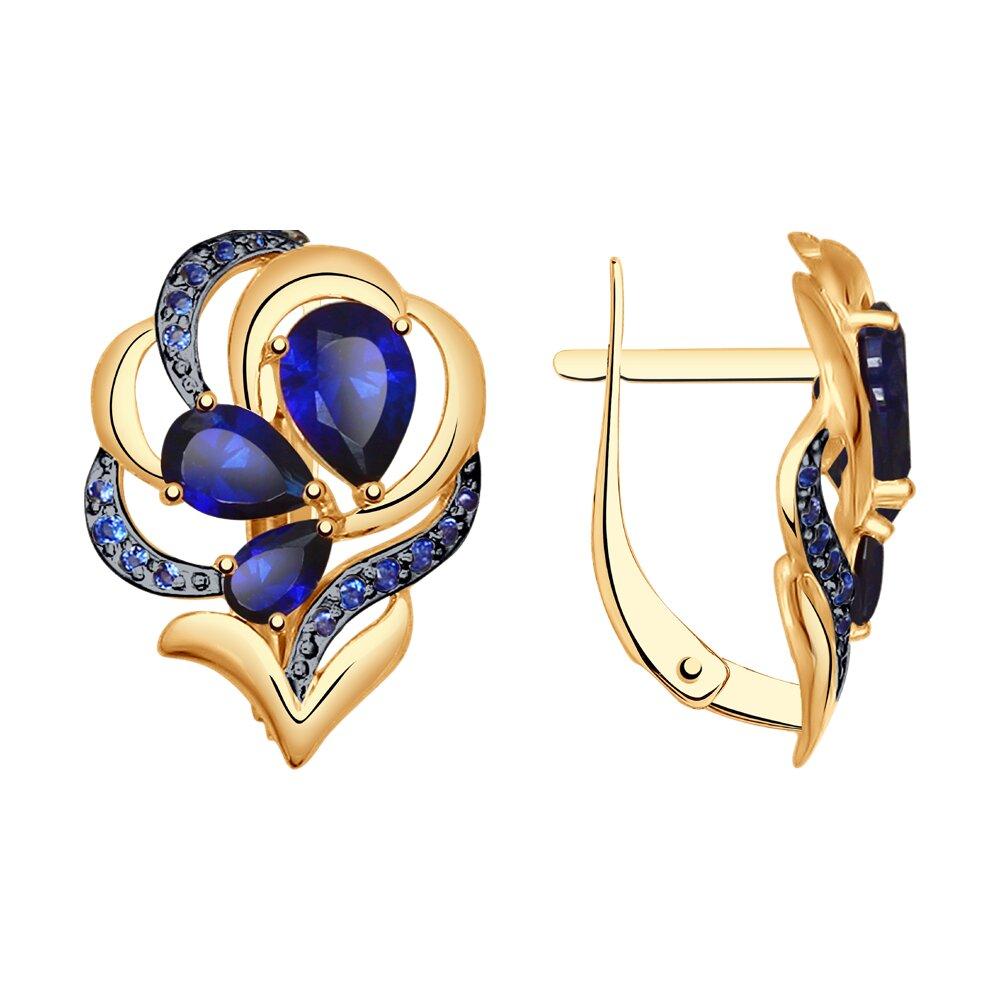 Серьги SOKOLOV из золота с синими корундами и синими фианитами серьги sokolov из золота с синими корундами и фианитами