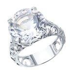 Кольцо с горным хрусталём из серебра