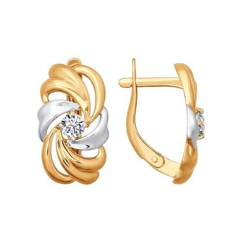 Серьги из золота с фианитами (026699) - фото