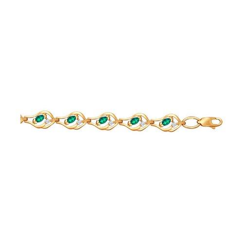 Браслет из золота с бриллиантами и изумрудами (3050009) - фото