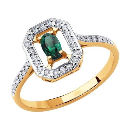 Кольцо из золота с бриллиантами и изумрудом