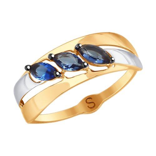 Кольцо из золота с фианитами (017942) - фото