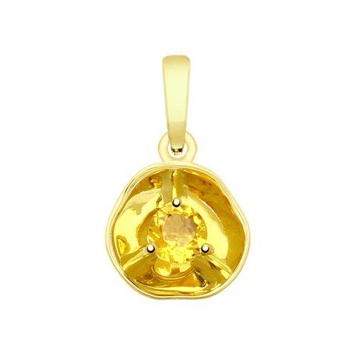Подвеска из желтого золота с цитрином