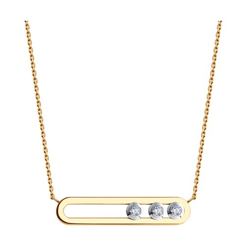Колье из золота с фианитами Swarovski (81070033) - фото
