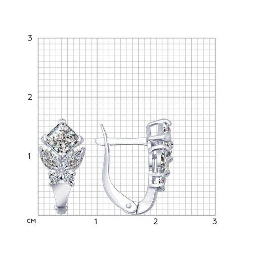 Серьги из серебра с фианитами (94021939) - фото №2