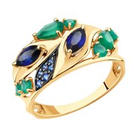 Кольцо из золота с агатами, корундами и фианитами