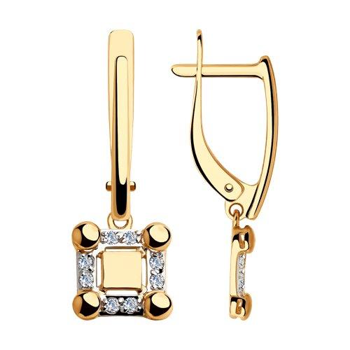 Серьги из золота с фианитами (028154) - фото