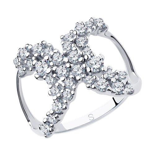 Кольцо из серебра с фианитами (94013037) - фото