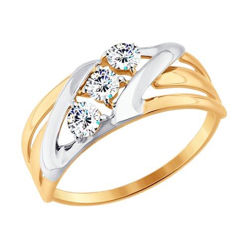 Кольцо из золота с фианитами (017640-4) - фото