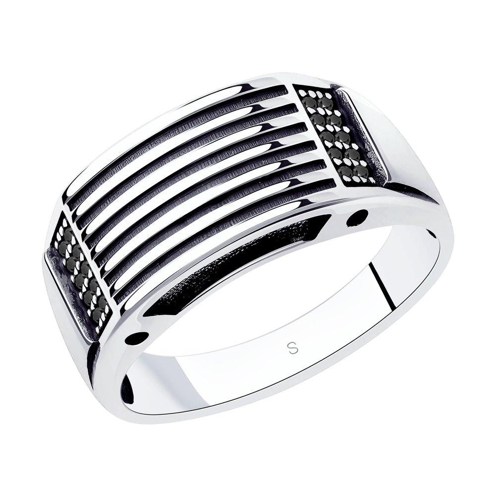 Кольцо SOKOLOV из чернёного серебра с фианитами фото