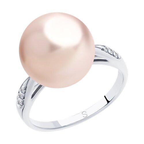 Кольцо из серебра с розовым жемчугом Swarovski и фианитами (94012916) - фото