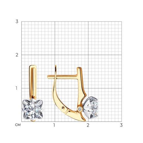 Серьги из комбинированного золота с фианитами Сваровски и фианитами 81020514 SOKOLOV фото 2
