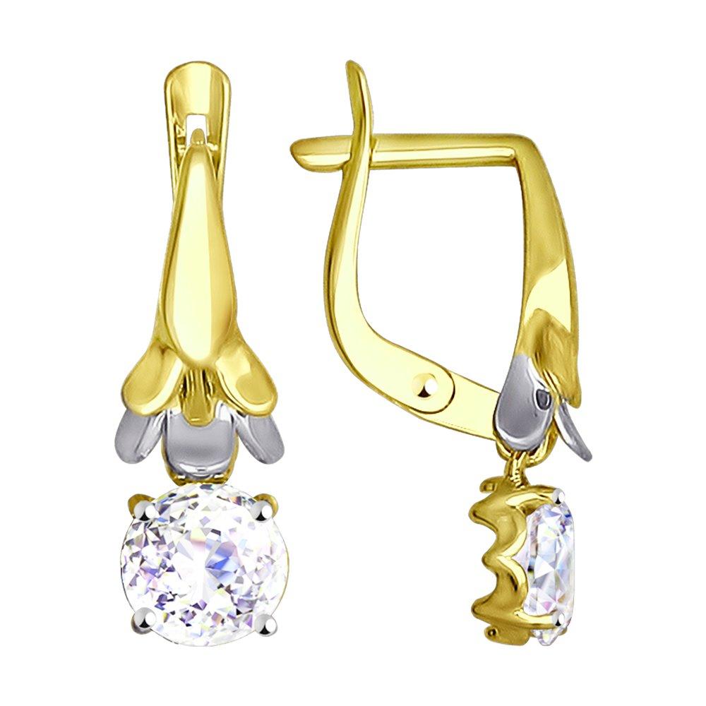 Серьги SOKOLOV из желтого золота со Swarovski Zirconia серьги sokolov из желтого золота со swarovski zirconia
