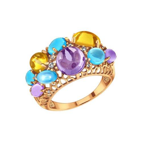 Кольцо с аметистами, топазами и цитринами SOKOLOV браслет с топазами цитринами и аметистами из красного золота