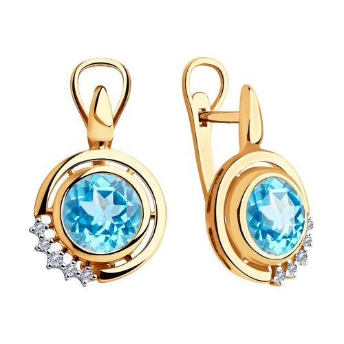 Серьги из золота с бриллиантами и топазами (6024109) - фото №2