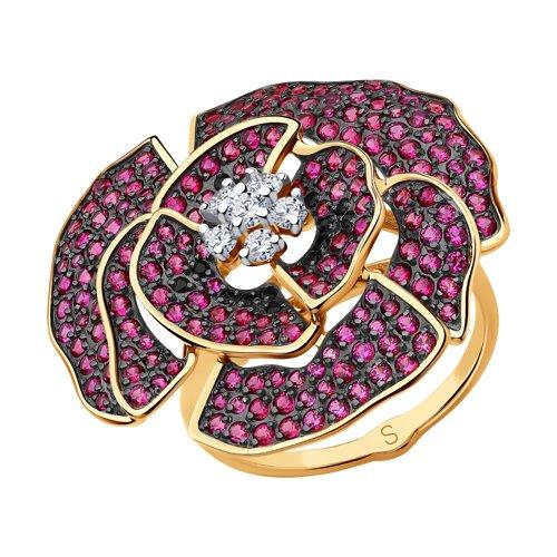 Кольцо из золота с фианитами (017889) - фото