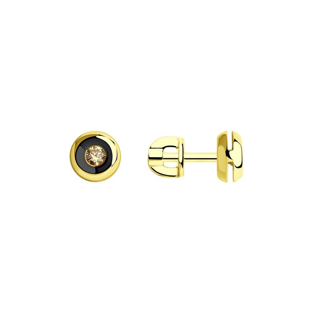 Серьги SOKOLOV из желтого золота с коньячными бриллиантами серьги sokolov из желтого золота с бриллиантами